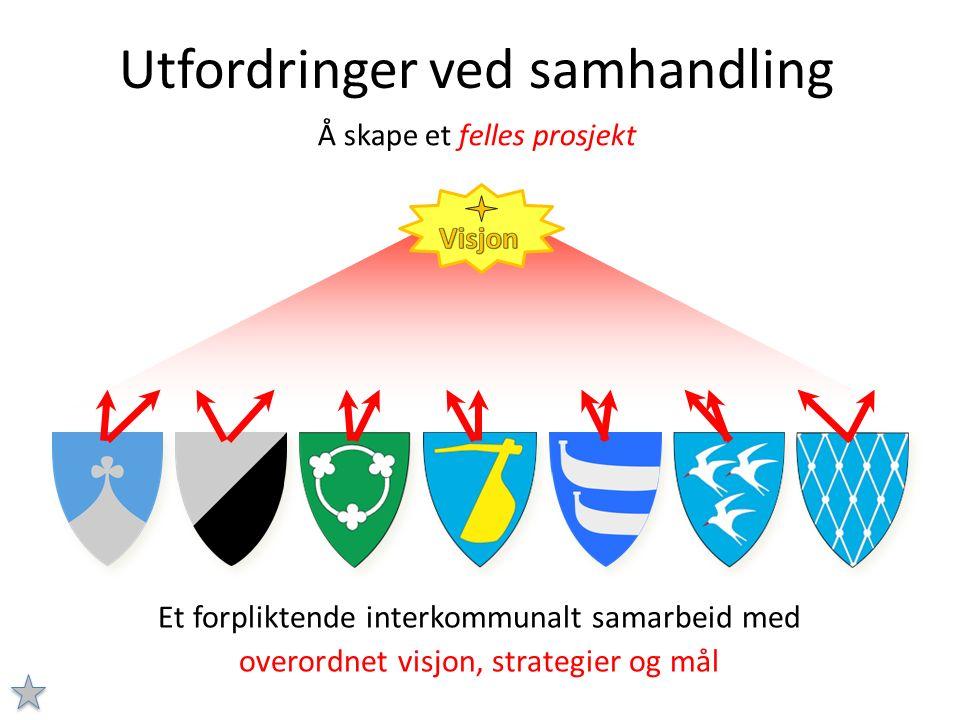 Utfordringer ved samhandling Å skape et felles prosjekt Et forpliktende interkommunalt samarbeid med overordnet visjon, strategier og mål