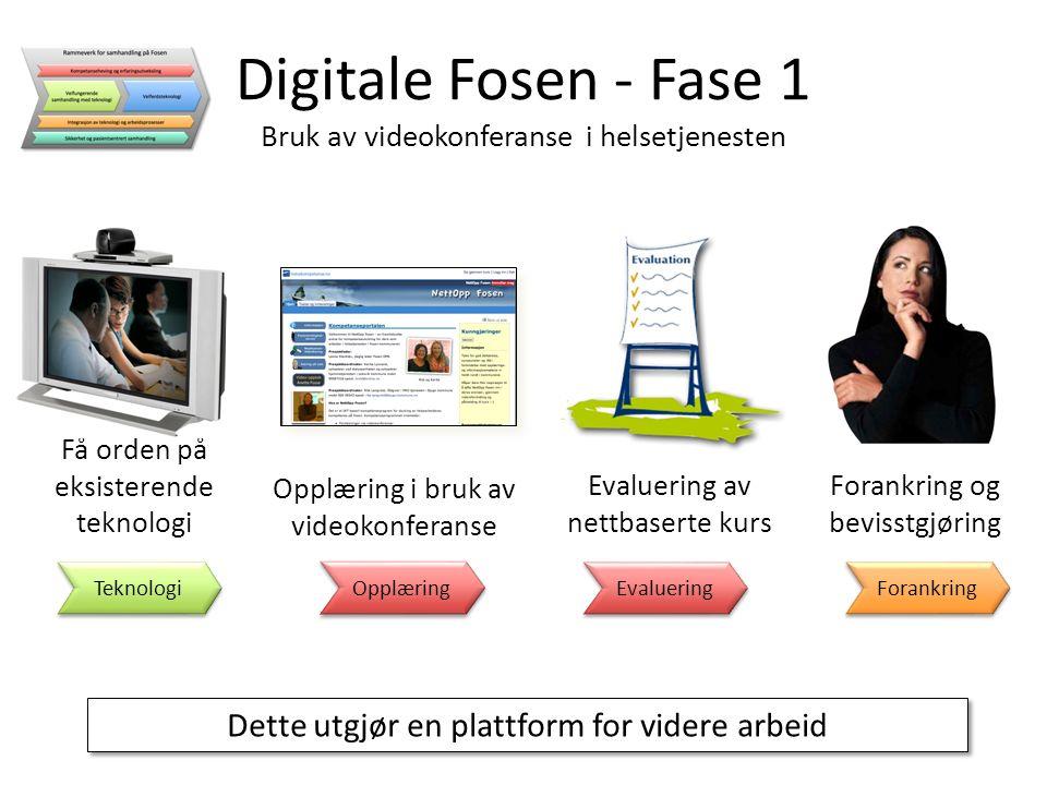 Dette utgjør en plattform for videre arbeid Digitale Fosen - Fase 1 Bruk av videokonferanse i helsetjenesten Evaluering av nettbaserte kurs Evaluering Få orden på eksisterende teknologi Teknologi Opplæring i bruk av videokonferanse Opplæring Forankring og bevisstgjøring Forankring