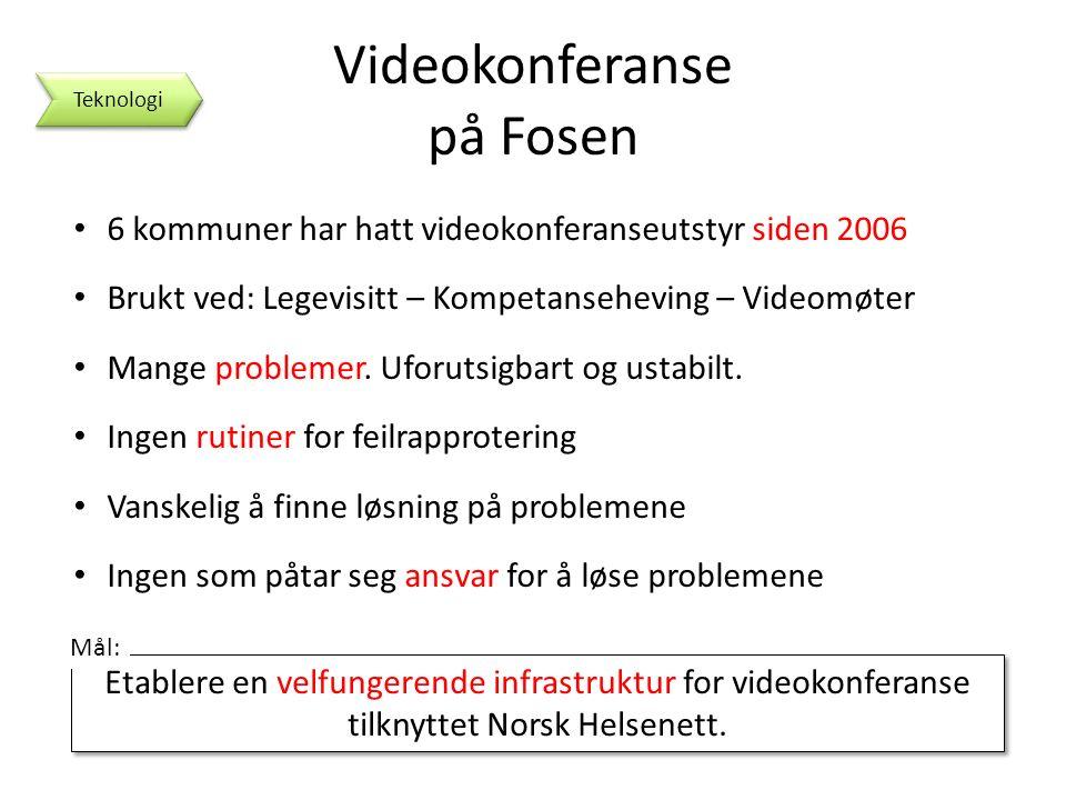 Videokonferanse på Fosen 6 kommuner har hatt videokonferanseutstyr siden 2006 Brukt ved: Legevisitt – Kompetanseheving – Videomøter Mange problemer.