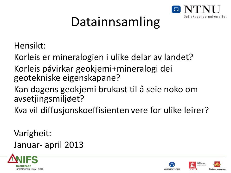 Datainnsamling Hensikt: Korleis er mineralogien i ulike delar av landet.