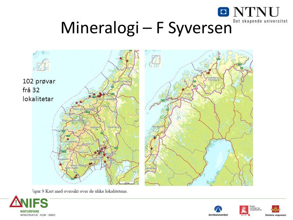Mineralogi – F Syversen 102 prøvar frå 32 lokalitetar
