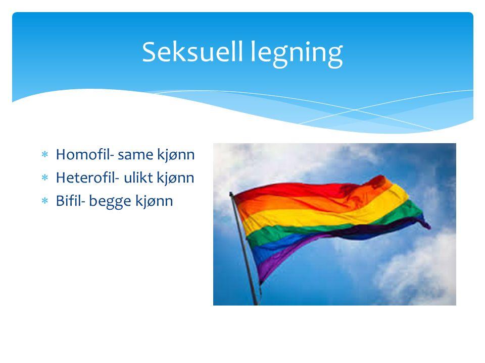 Seksuell legning  Homofil- same kjønn  Heterofil- ulikt kjønn  Bifil- begge kjønn