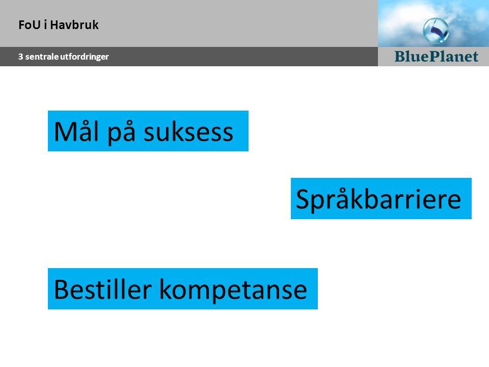 FoU i Havbruk 3 sentrale utfordringer Bestiller kompetanse Mål på suksess Språkbarriere