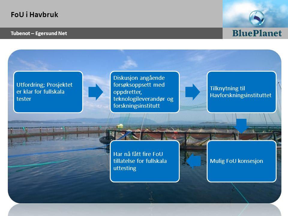 FoU i Havbruk Tubenot – Egersund Net Utfordring; Prosjektet er klar for fullskala tester Diskusjon angående forsøksoppsett med oppdretter, teknologile