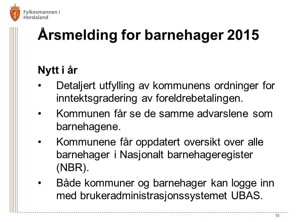 Årsmelding for barnehager 2015 Nytt i år Detaljert utfylling av kommunens ordninger for inntektsgradering av foreldrebetalingen. Kommunen får se de sa