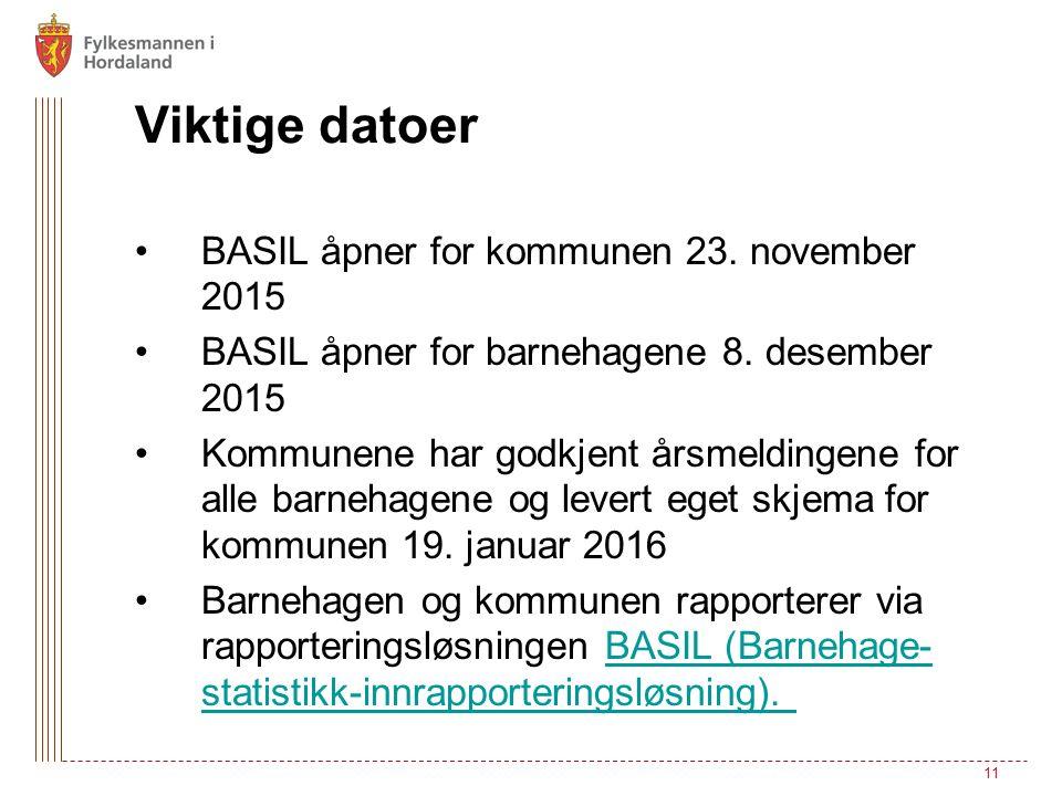 Viktige datoer BASIL åpner for kommunen 23. november 2015 BASIL åpner for barnehagene 8. desember 2015 Kommunene har godkjent årsmeldingene for alle b
