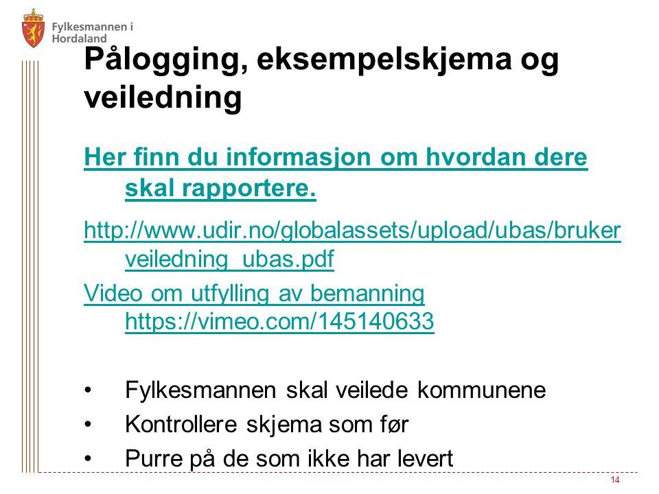 Pålogging, eksempelskjema og veiledning Her finn du informasjon om hvordan dere skal rapportere. http://www.udir.no/globalassets/upload/ubas/bruker ve