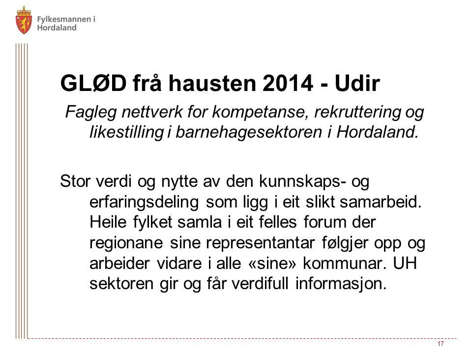 GLØD frå hausten 2014 - Udir Fagleg nettverk for kompetanse, rekruttering og likestilling i barnehagesektoren i Hordaland. Stor verdi og nytte av den