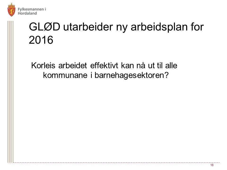 GLØD utarbeider ny arbeidsplan for 2016 Korleis arbeidet effektivt kan nå ut til alle kommunane i barnehagesektoren? 18