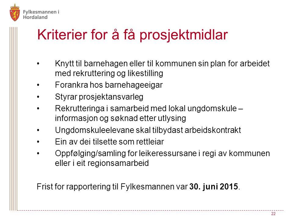 Kriterier for å få prosjektmidlar Knytt til barnehagen eller til kommunen sin plan for arbeidet med rekruttering og likestilling Forankra hos barnehag