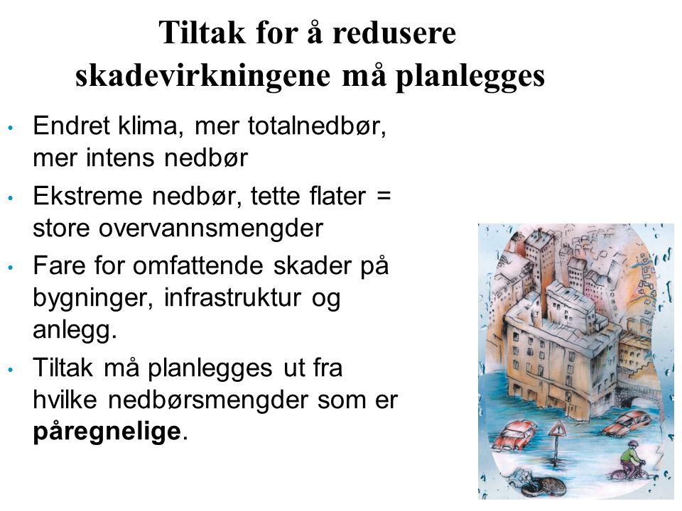 Tiltak for å redusere skadevirkningene må planlegges Endret klima, mer totalnedbør, mer intens nedbør Ekstreme nedbør, tette flater = store overvannsm