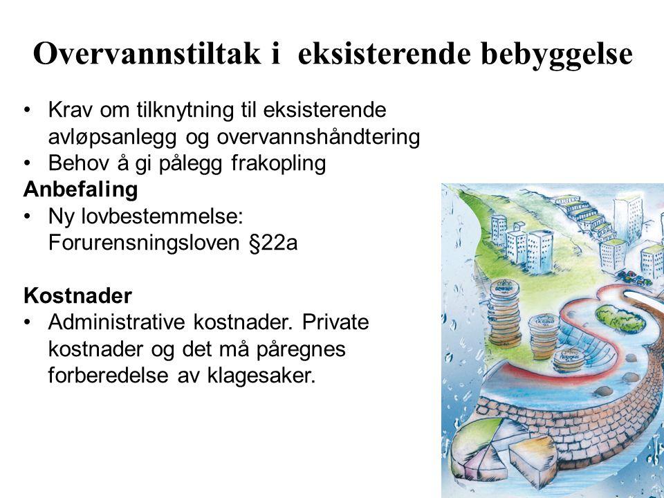 Krav om tilknytning til eksisterende avløpsanlegg og overvannshåndtering Behov å gi pålegg frakopling Anbefaling Ny lovbestemmelse: Forurensningsloven §22a Kostnader Administrative kostnader.