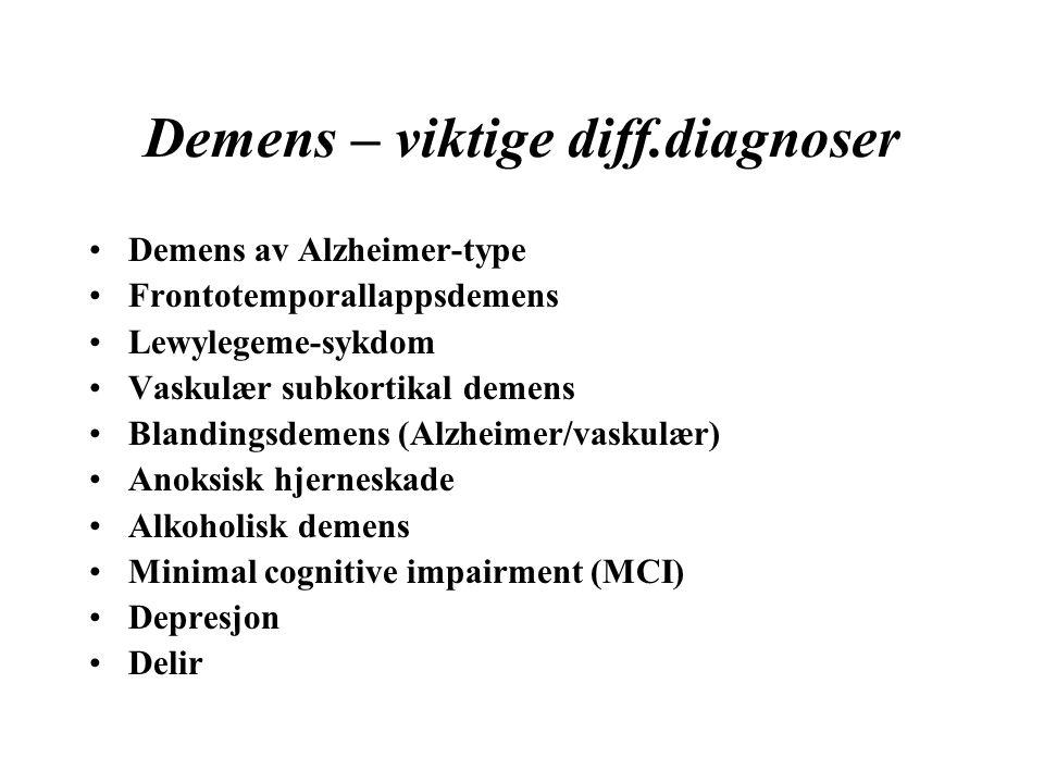 Demens – viktige diff.diagnoser Demens av Alzheimer-type Frontotemporallappsdemens Lewylegeme-sykdom Vaskulær subkortikal demens Blandingsdemens (Alzheimer/vaskulær) Anoksisk hjerneskade Alkoholisk demens Minimal cognitive impairment (MCI) Depresjon Delir