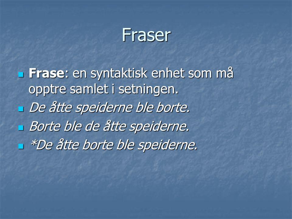 Fraser Frase: en syntaktisk enhet som må opptre samlet i setningen. Frase: en syntaktisk enhet som må opptre samlet i setningen. De åtte speiderne ble