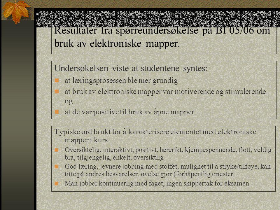 Resultater fra spørreundersøkelse på BI 05/06 om bruk av elektroniske mapper. Typiske ord brukt for å karakterisere elementet med elektroniske mapper