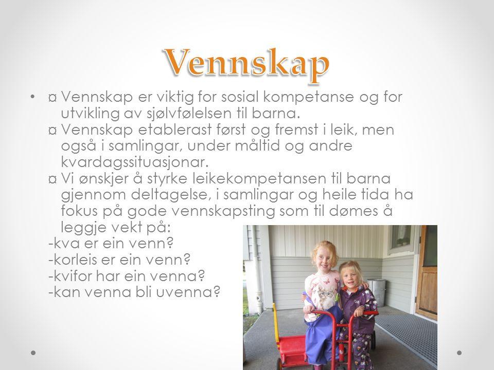 ¤ Vennskap er viktig for sosial kompetanse og for utvikling av sjølvfølelsen til barna.