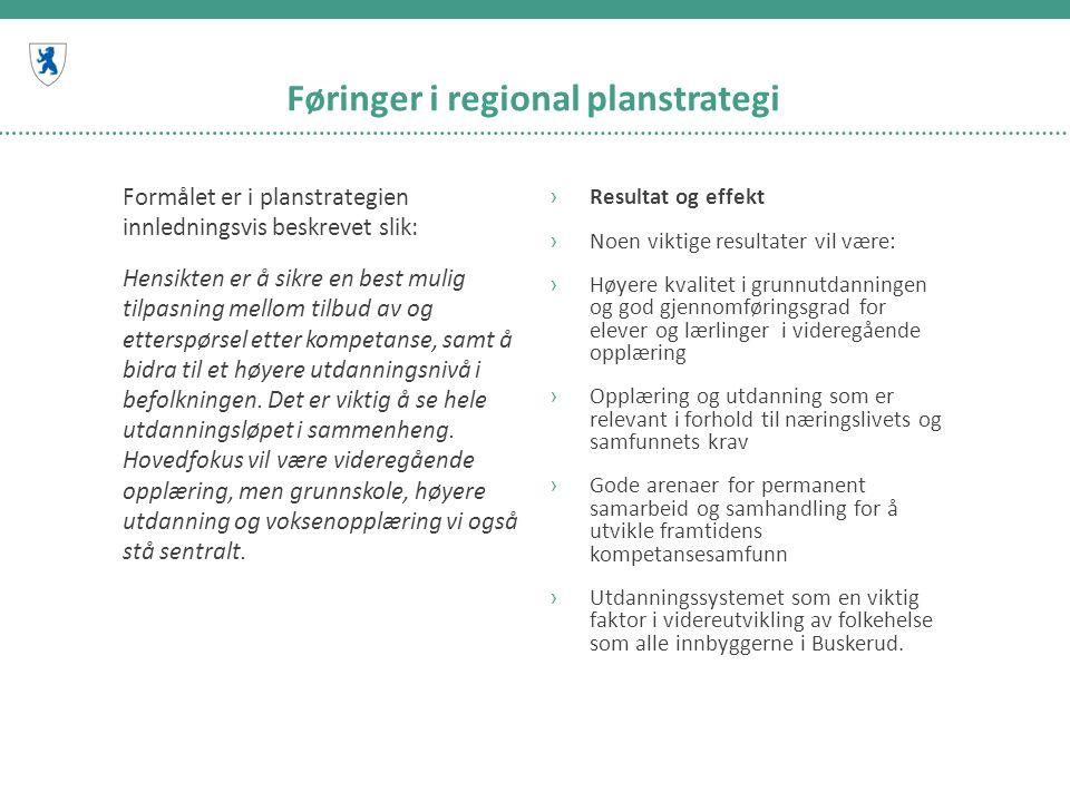 Føringer i regional planstrategi Formålet er i planstrategien innledningsvis beskrevet slik: Hensikten er å sikre en best mulig tilpasning mellom tilbud av og etterspørsel etter kompetanse, samt å bidra til et høyere utdanningsnivå i befolkningen.