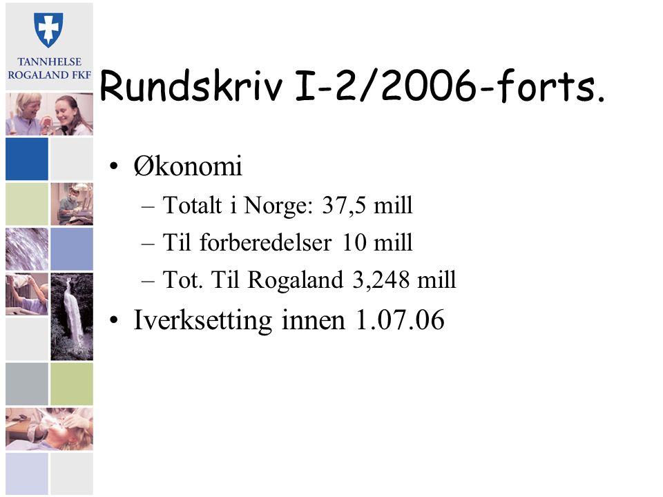 Rundskriv I-2/2006-forts. Økonomi –Totalt i Norge: 37,5 mill –Til forberedelser 10 mill –Tot. Til Rogaland 3,248 mill Iverksetting innen 1.07.06