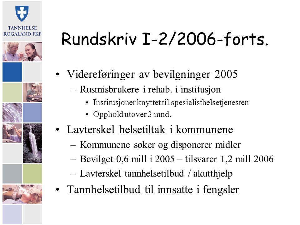 Rundskriv I-2/2006-forts. Videreføringer av bevilgninger 2005 –Rusmisbrukere i rehab. i institusjon Institusjoner knyttet til spesialisthelsetjenesten