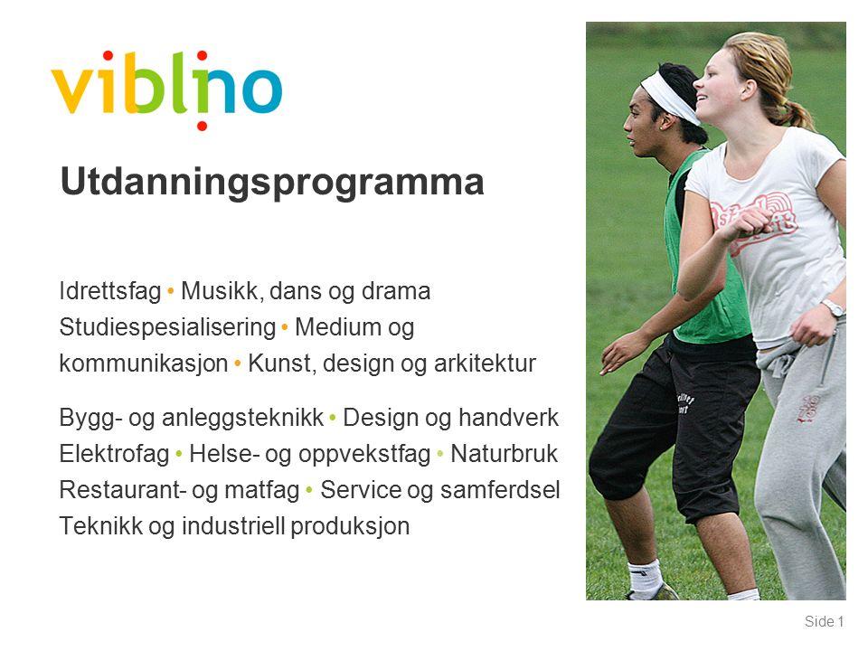 Side 1 Utdanningsprogramma Idrettsfag Musikk, dans og drama Studiespesialisering Medium og kommunikasjon Kunst, design og arkitektur Bygg- og anleggst