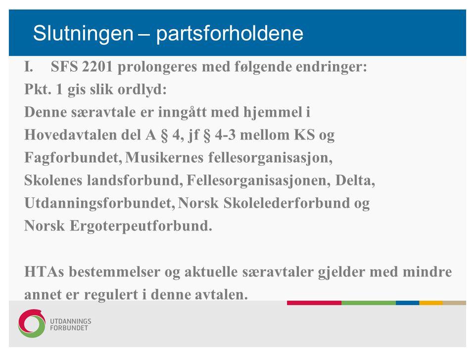 Slutningen – partsforholdene I.SFS 2201 prolongeres med følgende endringer: Pkt. 1 gis slik ordlyd: Denne særavtale er inngått med hjemmel i Hovedavta