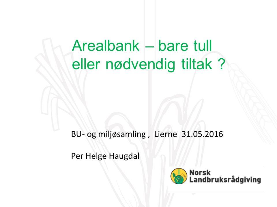 BU- og miljøsamling, Lierne 31.05.2016 Per Helge Haugdal Arealbank – bare tull eller nødvendig tiltak