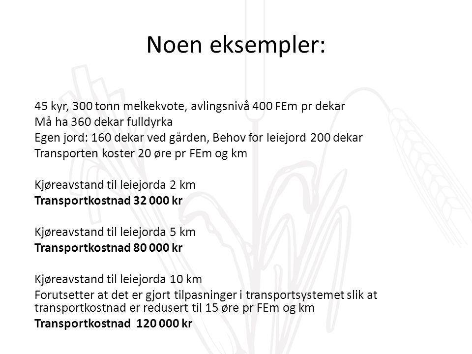 Noen eksempler: 45 kyr, 300 tonn melkekvote, avlingsnivå 400 FEm pr dekar Må ha 360 dekar fulldyrka Egen jord: 160 dekar ved gården, Behov for leiejord 200 dekar Transporten koster 20 øre pr FEm og km Kjøreavstand til leiejorda 2 km Transportkostnad 32 000 kr Kjøreavstand til leiejorda 5 km Transportkostnad 80 000 kr Kjøreavstand til leiejorda 10 km Forutsetter at det er gjort tilpasninger i transportsystemet slik at transportkostnad er redusert til 15 øre pr FEm og km Transportkostnad 120 000 kr
