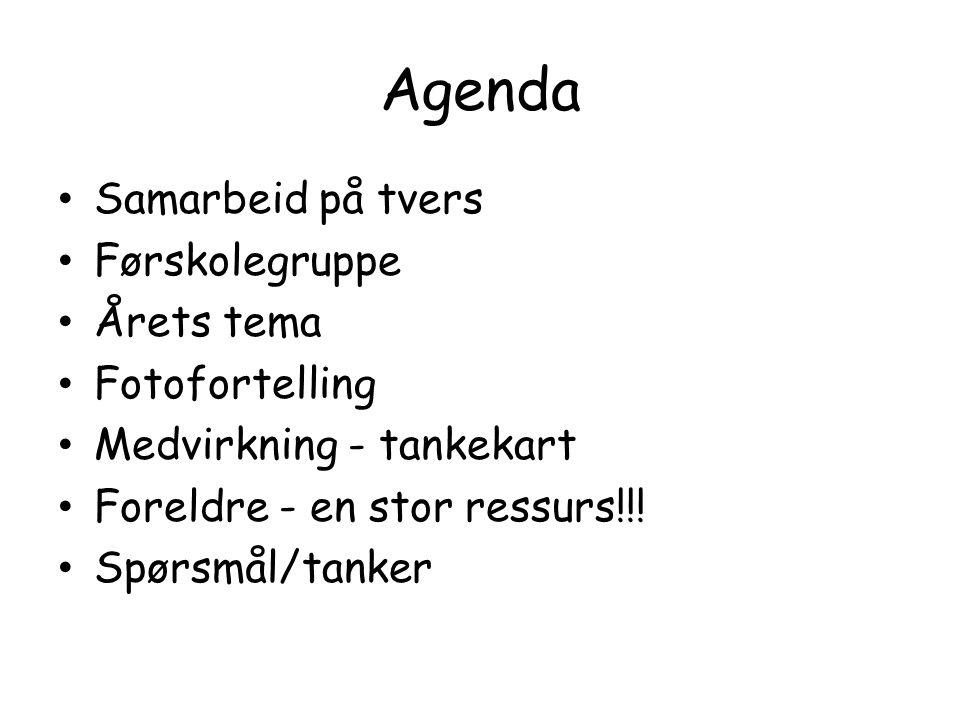 Agenda Samarbeid på tvers Førskolegruppe Årets tema Fotofortelling Medvirkning - tankekart Foreldre - en stor ressurs!!.