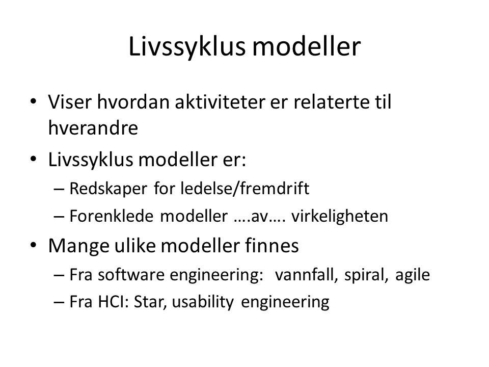Livssyklus modeller Viser hvordan aktiviteter er relaterte til hverandre Livssyklus modeller er: – Redskaper for ledelse/fremdrift – Forenklede modeller ….av….
