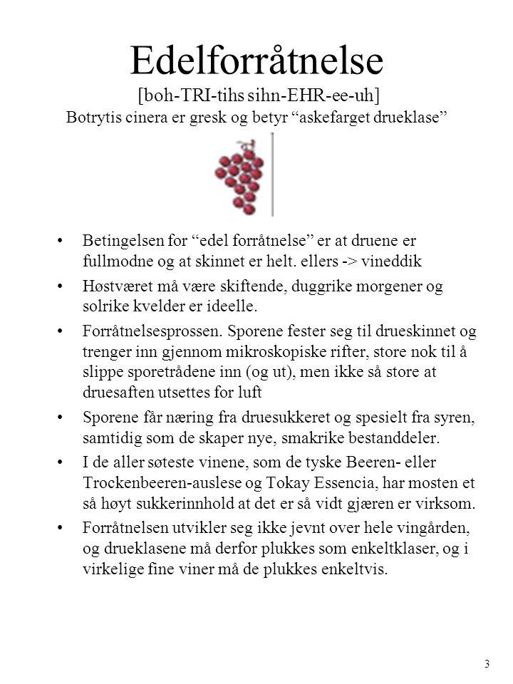 "Edelforråtnelse [boh-TRI-tihs sihn-EHR-ee-uh] Botrytis cinera er gresk og betyr ""askefarget drueklase"" Betingelsen for ""edel forråtnelse"" er at druene"