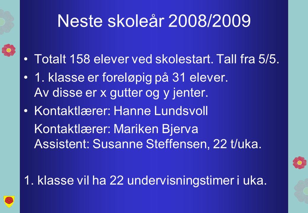 Neste skoleår 2008/2009 Totalt 158 elever ved skolestart. Tall fra 5/5. 1. klasse er foreløpig på 31 elever. Av disse er x gutter og y jenter. Kontakt
