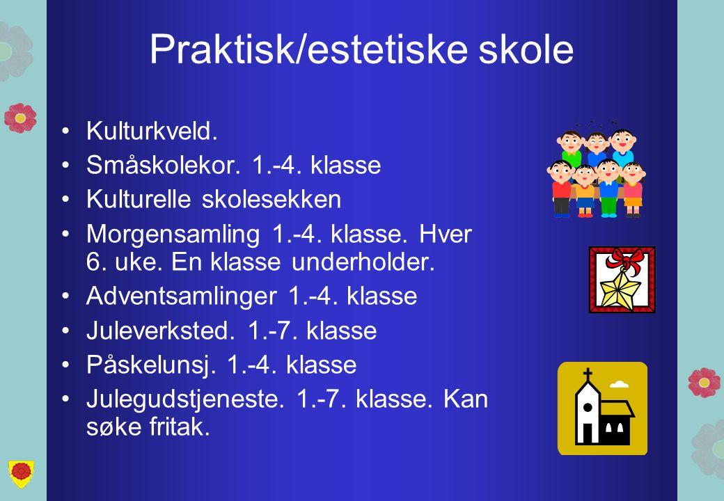 Praktisk/estetiske skole Kulturkveld. Småskolekor. 1.-4. klasse Kulturelle skolesekken Morgensamling 1.-4. klasse. Hver 6. uke. En klasse underholder.