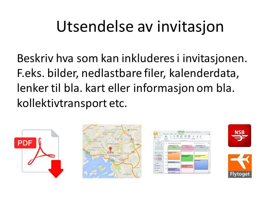 Utsendelse av invitasjon Beskriv hva som kan inkluderes i invitasjonen. F.eks. bilder, nedlastbare filer, kalenderdata, lenker til bla. kart eller inf