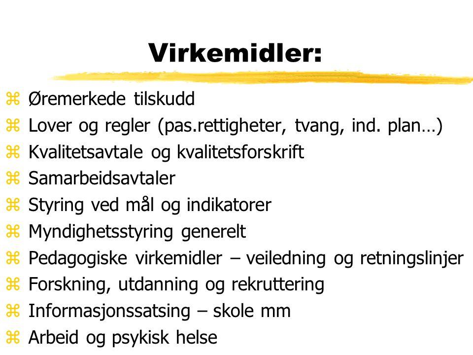 Virkemidler: z Øremerkede tilskudd z Lover og regler (pas.rettigheter, tvang, ind.