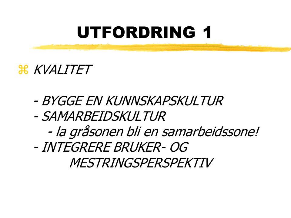 UTFORDRING 1 z KVALITET - BYGGE EN KUNNSKAPSKULTUR - SAMARBEIDSKULTUR - la gråsonen bli en samarbeidssone! - INTEGRERE BRUKER- OG MESTRINGSPERSPEKTIV