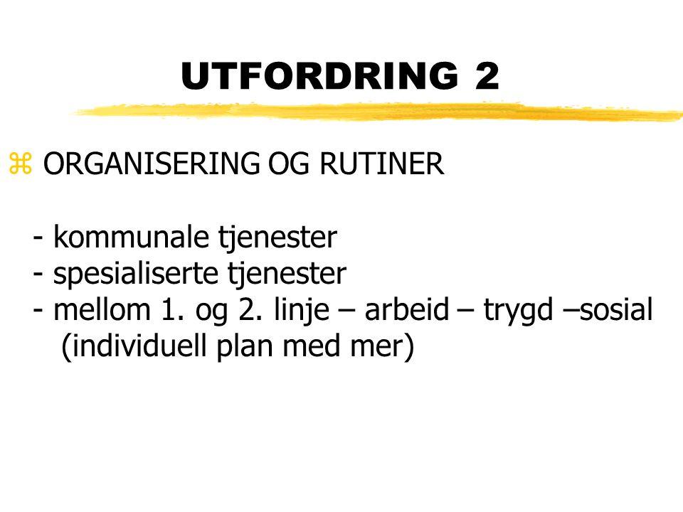 UTFORDRING 2 z ORGANISERING OG RUTINER - kommunale tjenester - spesialiserte tjenester - mellom 1. og 2. linje – arbeid – trygd –sosial (individuell p