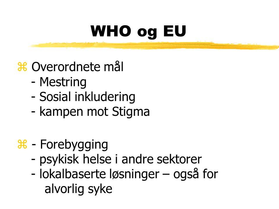 WHO og EU z Overordnete mål - Mestring - Sosial inkludering - kampen mot Stigma z - Forebygging - psykisk helse i andre sektorer - lokalbaserte løsninger – også for alvorlig syke