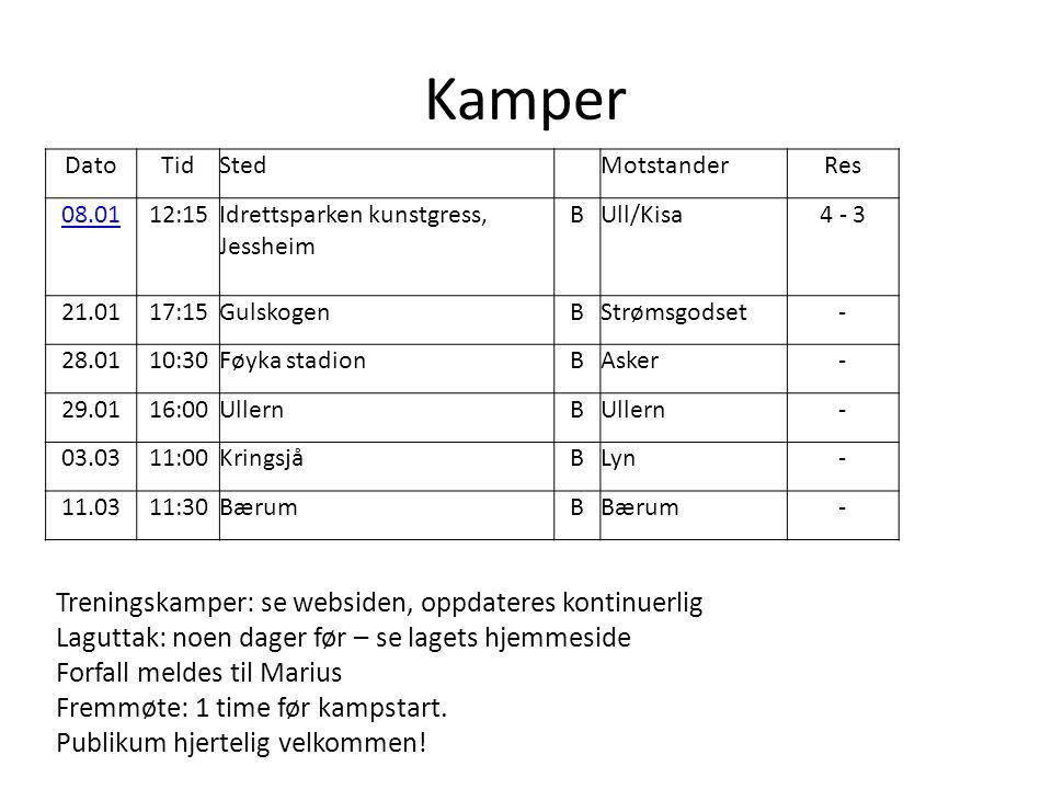Kamper Treningskamper: se websiden, oppdateres kontinuerlig Laguttak: noen dager før – se lagets hjemmeside Forfall meldes til Marius Fremmøte: 1 time før kampstart.