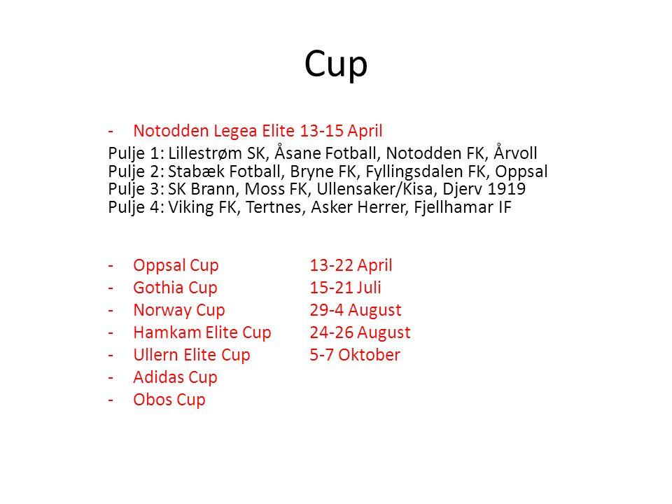 Cup -Notodden Legea Elite 13-15 April Pulje 1: Lillestrøm SK, Åsane Fotball, Notodden FK, Årvoll Pulje 2: Stabæk Fotball, Bryne FK, Fyllingsdalen FK, Oppsal Pulje 3: SK Brann, Moss FK, Ullensaker/Kisa, Djerv 1919 Pulje 4: Viking FK, Tertnes, Asker Herrer, Fjellhamar IF -Oppsal Cup 13-22 April -Gothia Cup 15-21 Juli -Norway Cup 29-4 August -Hamkam Elite Cup 24-26 August -Ullern Elite Cup 5-7 Oktober -Adidas Cup -Obos Cup