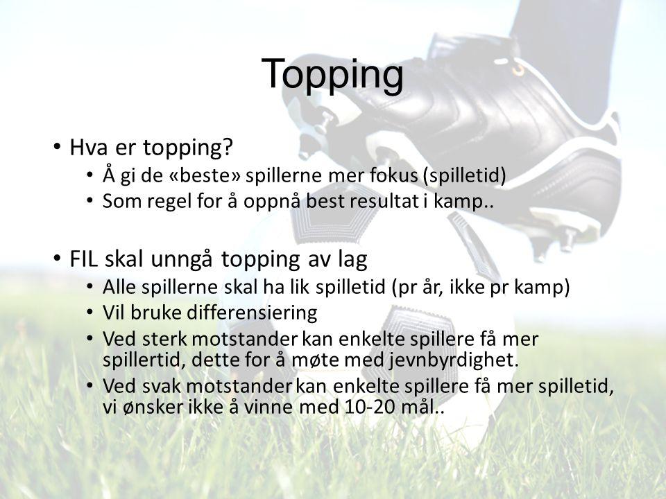 Topping Hva er topping? Å gi de «beste» spillerne mer fokus (spilletid) Som regel for å oppnå best resultat i kamp.. FIL skal unngå topping av lag All