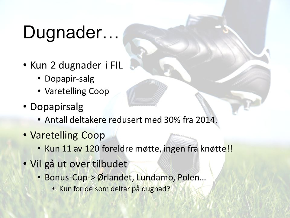 Dugnader… Kun 2 dugnader i FIL Dopapir-salg Varetelling Coop Dopapirsalg Antall deltakere redusert med 30% fra 2014. Varetelling Coop Kun 11 av 120 fo