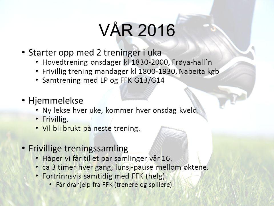 Hoved- trening Onsdager kl 1830-2000 Frøya hall´n (tom mars, mulig lengre) Fokus januar Teknikk: Vendinger, ny vending hver uke (hjemmelekse).