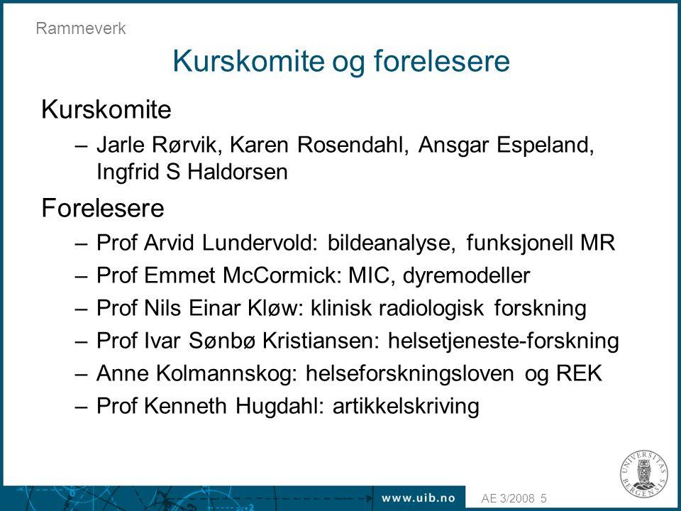 AE 3/2008 Rammeverk 5 Kurskomite og forelesere Kurskomite –Jarle Rørvik, Karen Rosendahl, Ansgar Espeland, Ingfrid S Haldorsen Forelesere –Prof Arvid