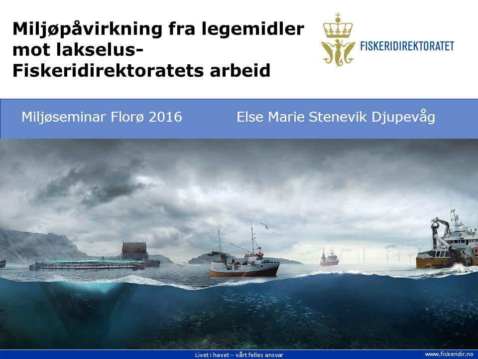 Livet i havet – vårt felles ansvar www.fiskeridir.no Miljøpåvirkning fra legemidler mot lakselus- Fiskeridirektoratets arbeid Miljøseminar Florø 2016Else Marie Stenevik Djupevåg Kilde: AQS