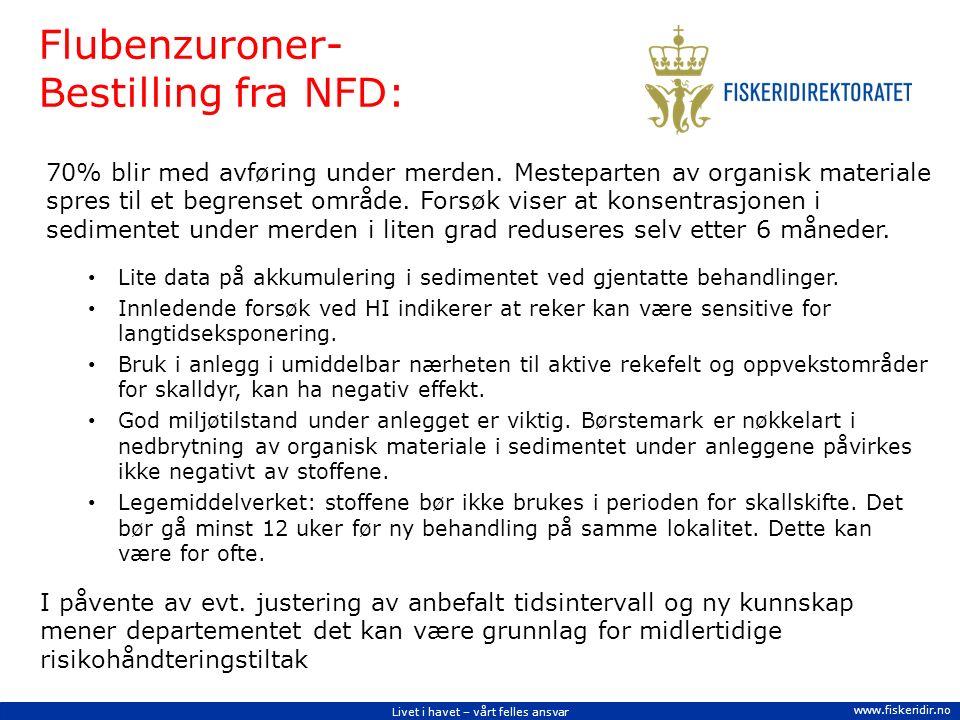 Livet i havet – vårt felles ansvar www.fiskeridir.no Flubenzuroner- Bestilling fra NFD: 70% blir med avføring under merden.