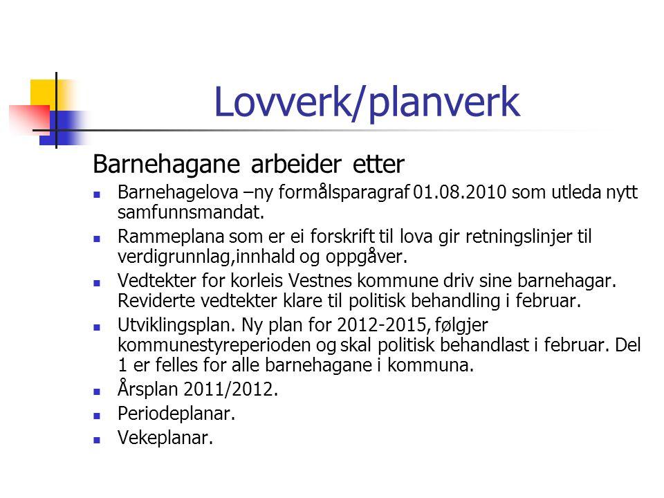 Lovverk/planverk Barnehagane arbeider etter Barnehagelova –ny formålsparagraf 01.08.2010 som utleda nytt samfunnsmandat.