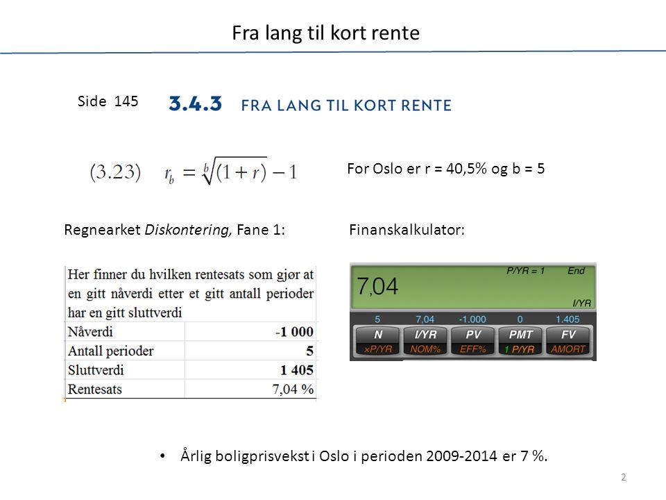 Budsjettering av nominell pris Side 77 Side 512 Formelsamling Side 233 Årlig boligprisstigning ligger i celle J5; ikke vist i tabellen 3