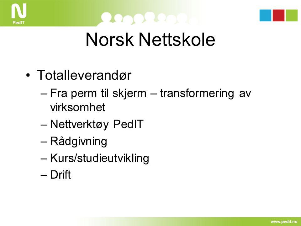 Norsk Nettskole Totalleverandør –Fra perm til skjerm – transformering av virksomhet –Nettverktøy PedIT –Rådgivning –Kurs/studieutvikling –Drift