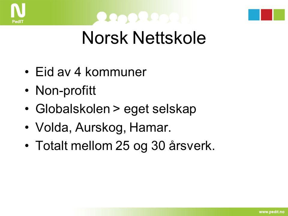 Norsk Nettskole Eid av 4 kommuner Non-profitt Globalskolen > eget selskap Volda, Aurskog, Hamar. Totalt mellom 25 og 30 årsverk.
