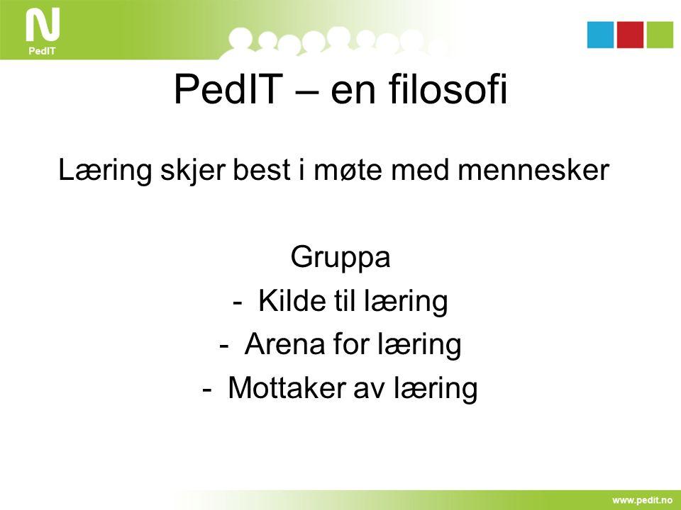 PedIT – en filosofi Læring skjer best i møte med mennesker Gruppa -Kilde til læring -Arena for læring -Mottaker av læring